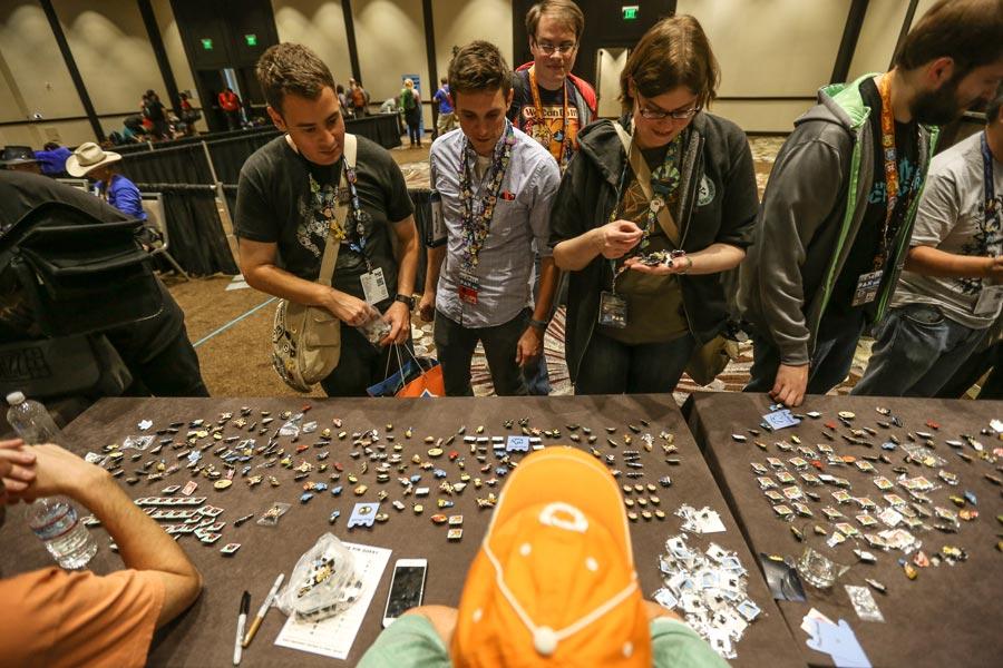 Pinny Arcade pin trading at PAX