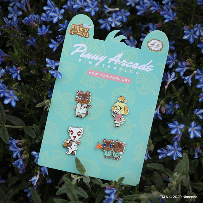 Animal Crossing™: New Horizons Pin Set on a bed of flowers